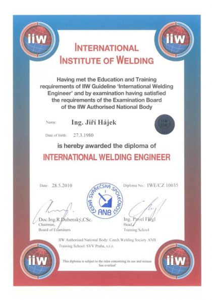 WELDING CERTIFICATES - IWE / AWE