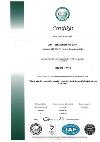 CERTIFIKÁT - ČSN EN ISO 9001:2015